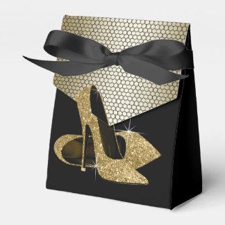 エレガントな黒および金ゴールドのグリッターのハイヒールの靴 フェイバーボックス