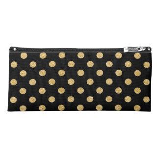 エレガントな黒および金ゴールドのグリッターの水玉模様パターン ペンシルケース
