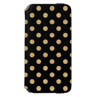 エレガントな黒および金ゴールドのグリッターの水玉模様パターン INCIPIO WATSON™ iPhone 6 財布ケース