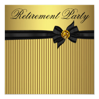 エレガントな黒および金ゴールドの女性の退職パーティー カード