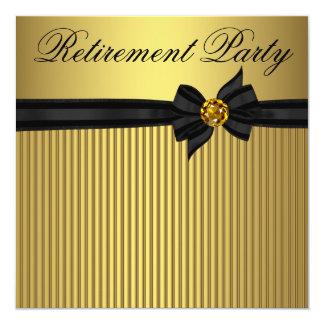 エレガントな黒および金ゴールドの女性の退職パーティー 13.3 スクエアインビテーションカード