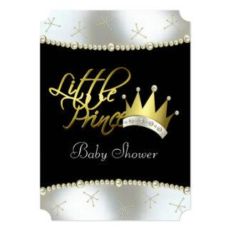 エレガントな黒および金ゴールドの小さい王子ベビーシャワー 12.7 X 17.8 インビテーションカード