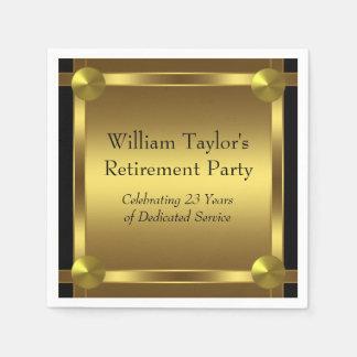 エレガントな黒および金ゴールドの退職 スタンダードカクテルナプキン