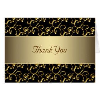 エレガントな黒および金ゴールドは感謝していしています カード