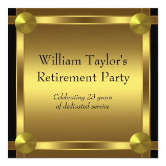 エレガントな黒および金ゴールドは退職パーティーに人を配置します カード
