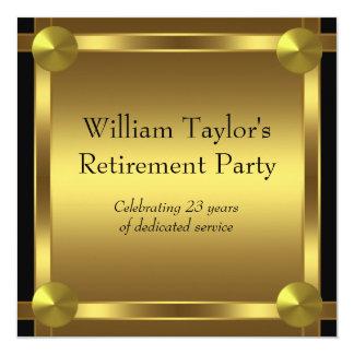 エレガントな黒および金ゴールドは退職パーティーに人を配置します 13.3 スクエアインビテーションカード