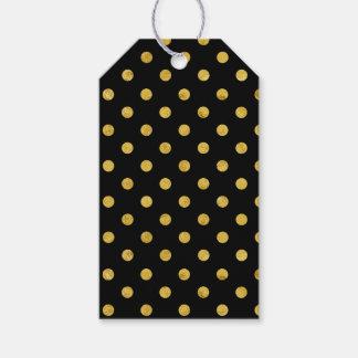 エレガントな黒および金ゴールドホイルの水玉模様パターン ギフトタグ