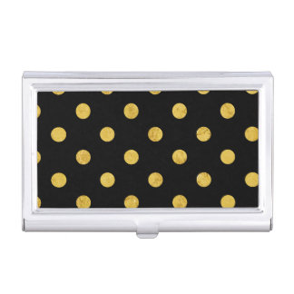 エレガントな黒および金ゴールドホイルの水玉模様パターン 名刺入れ