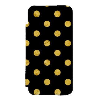 エレガントな黒および金ゴールドホイルの水玉模様パターン INCIPIO WATSON™ iPhone 5 ウォレット ケース