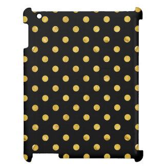 エレガントな黒および金ゴールドホイルの水玉模様パターン iPad CASE