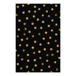 エレガントな黒および金ゴールドホイルの紙吹雪の点 便箋