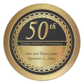 エレガントな黒および金ゴールド第50の金記念日 プレート