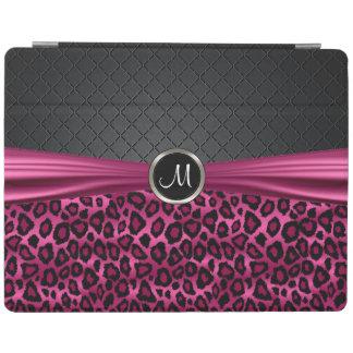 エレガントな黒く、ショッキングピンクのヒョウパターン iPadスマートカバー