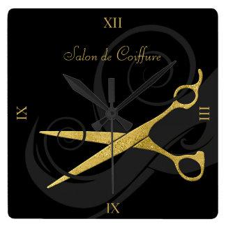 エレガントな黒は模造のな金ゴールドのはさみのヘアーサロンをカールします スクエア壁時計
