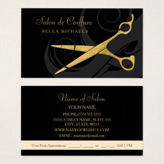 エレガントな黒は模造のな金ゴールドのはさみのヘアーサロンをカールします 名刺