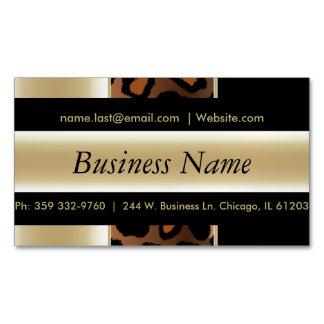 エレガントな黒及びシャンペンのヒョウは縞で飾ります マグネット名刺 (25枚パック)