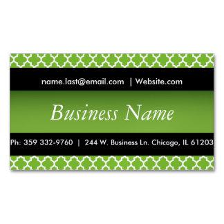 エレガントな黒及びペリドットの緑のクローバーのデザイン マグネット名刺