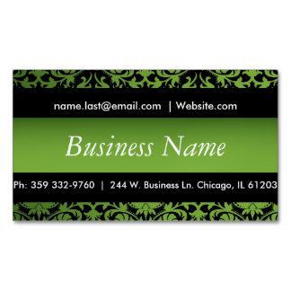 エレガントな黒及びペリドットの緑のダマスク織のデザイン マグネット名刺
