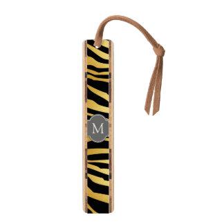 エレガントな黒及び金ゴールドのシマウマはモノグラムと縞で飾ります ブックマーク