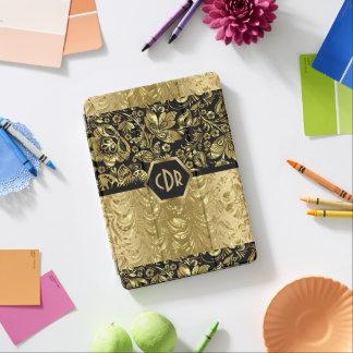 エレガントな黒及び金ゴールドのプリントの花のダマスク織パターン iPad AIR カバー