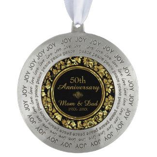 エレガントな黒及び金ゴールド第50の結婚記念日 オーナメント