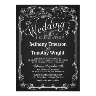 エレガントな黒板の結婚式招待状 カード