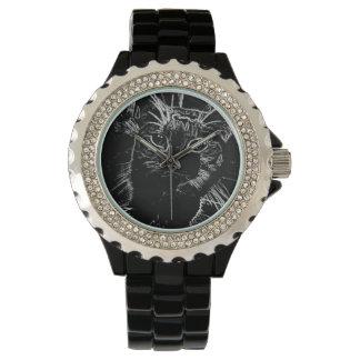 エレガントな黒猫の腕時計 腕時計