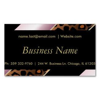 エレガントな黒、金ゴールドおよびピンクのヒョウは縞で飾ります マグネット名刺 (25枚パック)