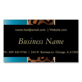 エレガントな黒、金ゴールドおよび青いヒョウは縞で飾ります マグネット名刺