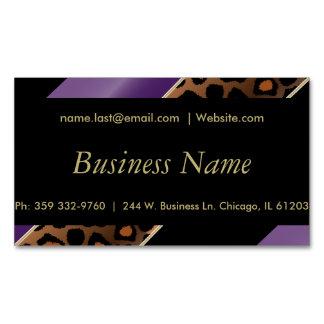 エレガントな黒、金ゴールド及び紫色のヒョウは縞で飾ります マグネット名刺