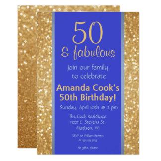 エレガントな50及びすばらしい第50誕生日の招待状 12.7 X 17.8 インビテーションカード
