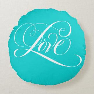 エレガントな「愛」書道の水のTiffanyの青いスタイル ラウンドクッション