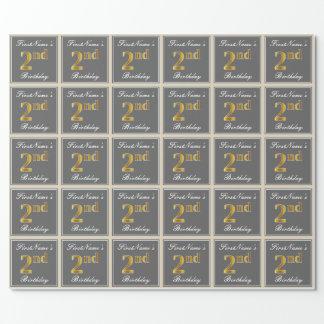 エレガントな、灰色、模造のな金ゴールドの第2誕生日; 名前をカスタムする ラッピングペーパー