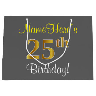 エレガントな、灰色、模造のな金ゴールドの第25誕生日 + 名前 ラージペーパーバッグ