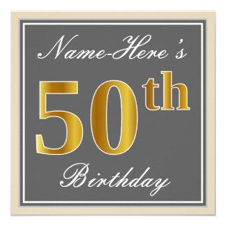エレガントな、灰色、模造のな金ゴールドの第50誕生日 + 名前 カード