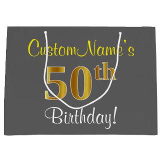 エレガントな、灰色、模造のな金ゴールドの第50誕生日 + 名前 ラージペーパーバッグ