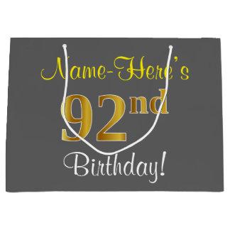 エレガントな、灰色、模造のな金ゴールドの第92誕生日 + 名前 ラージペーパーバッグ