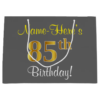 エレガントな、灰色、模造のな金ゴールドの85th誕生日 + 名前 ラージペーパーバッグ
