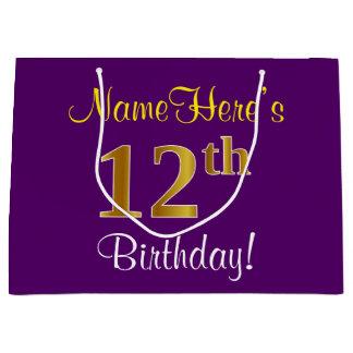 エレガントな、紫色、模造のな金ゴールドの第12誕生日 + 名前 ラージペーパーバッグ