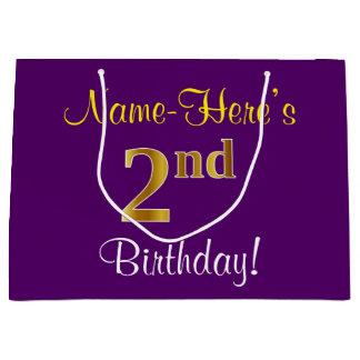 エレガントな、紫色、模造のな金ゴールドの第2誕生日 + 名前 ラージペーパーバッグ