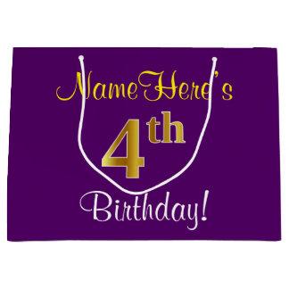 エレガントな、紫色、模造のな金ゴールドの第4誕生日 + 名前 ラージペーパーバッグ
