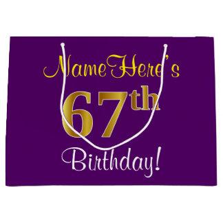 エレガントな、紫色、模造のな金ゴールドの第67誕生日 + 名前 ラージペーパーバッグ