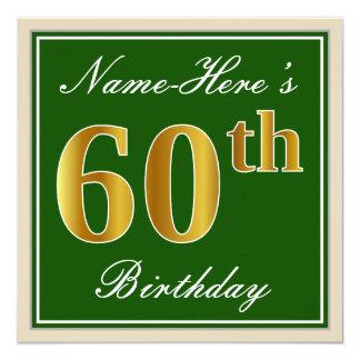 エレガントな、緑、模造のな金ゴールドの第60誕生日 + 名前 カード