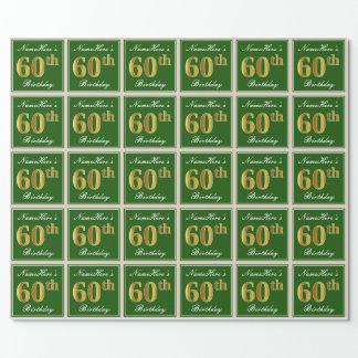 エレガントな、緑、模造のな金ゴールドの第60誕生日 + 名前 ラッピングペーパー