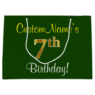 エレガントな、緑、模造のな金ゴールドの第7誕生日 + 名前 ラージペーパーバッグ