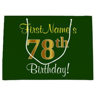 エレガントな、緑、模造のな金ゴールドの第78誕生日 + 名前 ラージペーパーバッグ