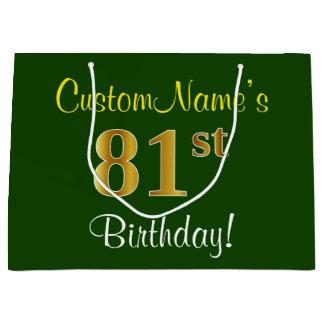 エレガントな、緑、模造のな金ゴールドの第81誕生日 + 名前 ラージペーパーバッグ