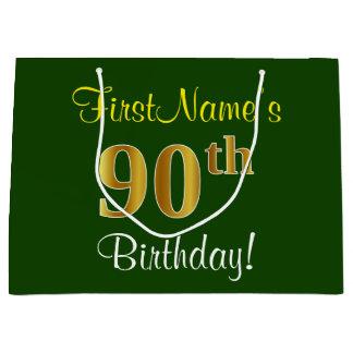 エレガントな、緑、模造のな金ゴールドの第90誕生日 + 名前 ラージペーパーバッグ