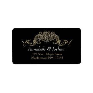 エレガントなMehndiのデザインの結婚式のアドレス・ラベルの金ゴールド ラベル