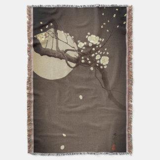 エレガントなOhara Koson著夜のプラム花 スローブランケット
